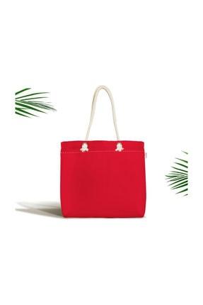 Realhomes Kırmızı Renkli Dijital Baskılı Fermuarlı Modern Kumaş Çanta Canta-956