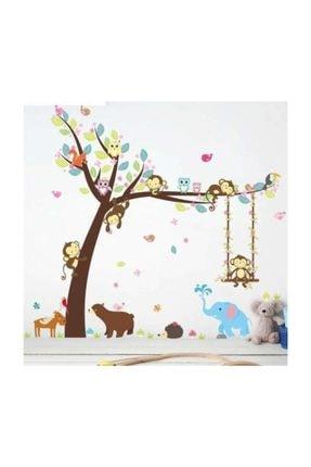 cosy home gift Çocuk Ve Bebek Odası Sevimli Orman Hayvanları Ayı Fil Maymun Geyik Baykuş Duvar Sticker 116x104 Cm