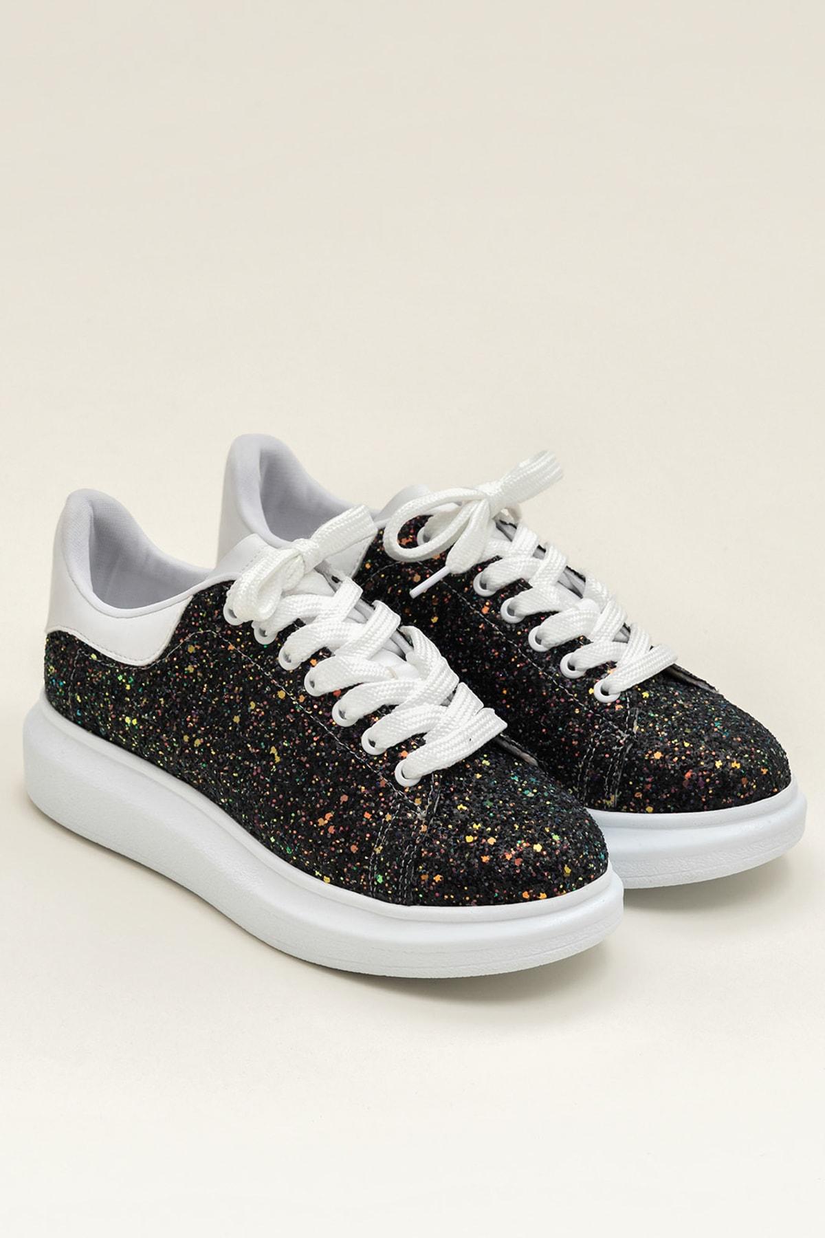 Elle Shoes ZANDA-2 Siyah Gliter Kadın Ayakkabı 2