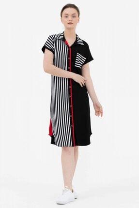 Sementa Çizgi Kombinli Gömlek Elbise -