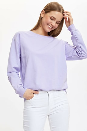 DeFacto Kadın Mor Yarım Düşük Omuz Sweatshirt M0021AZ.20SP.PR33