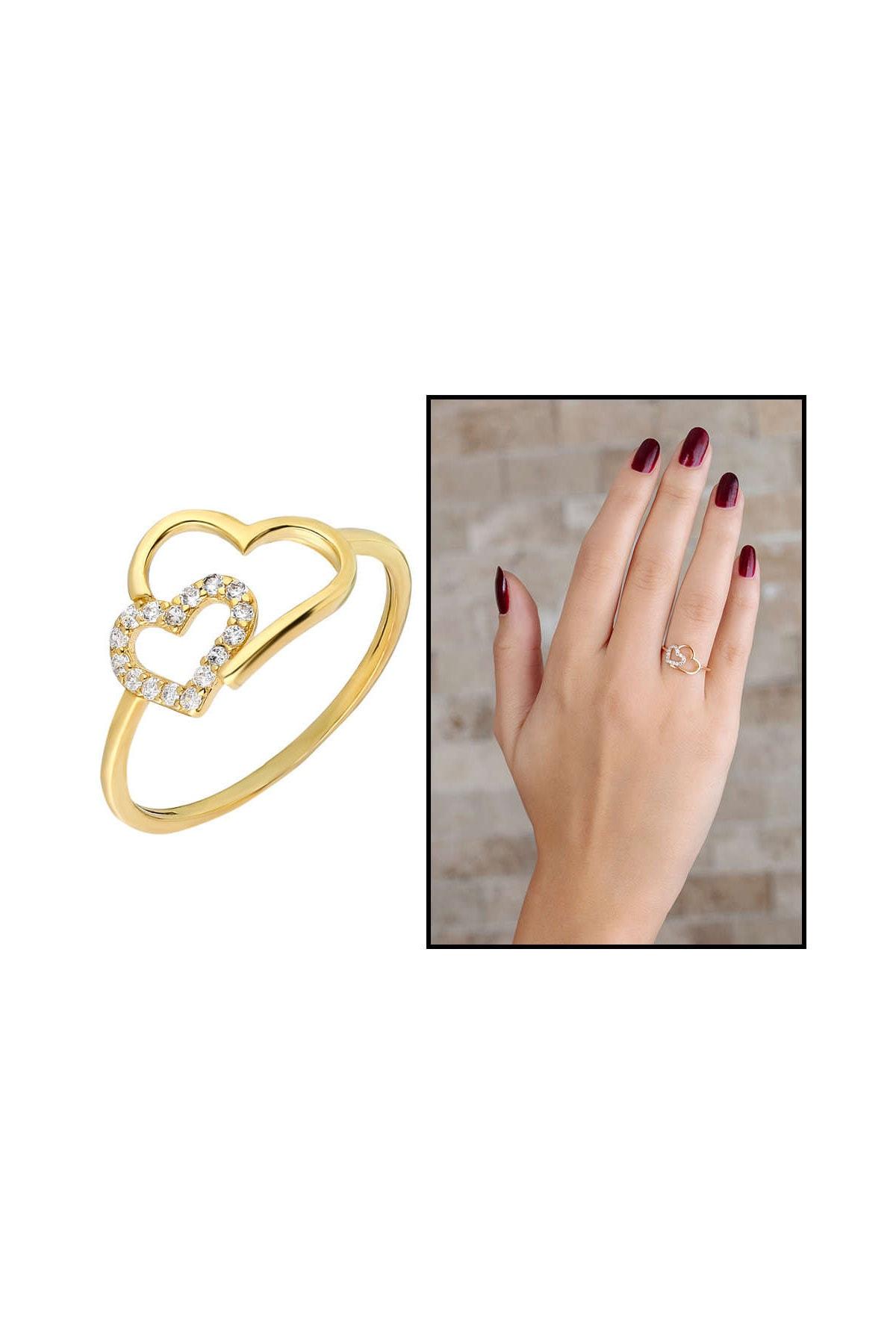 Tesbihane Zirkon Taşlı Asimetrik Kalp Tasarım Gold Renk 925 Ayar Gümüş Bayan Yüzük 102001710 1