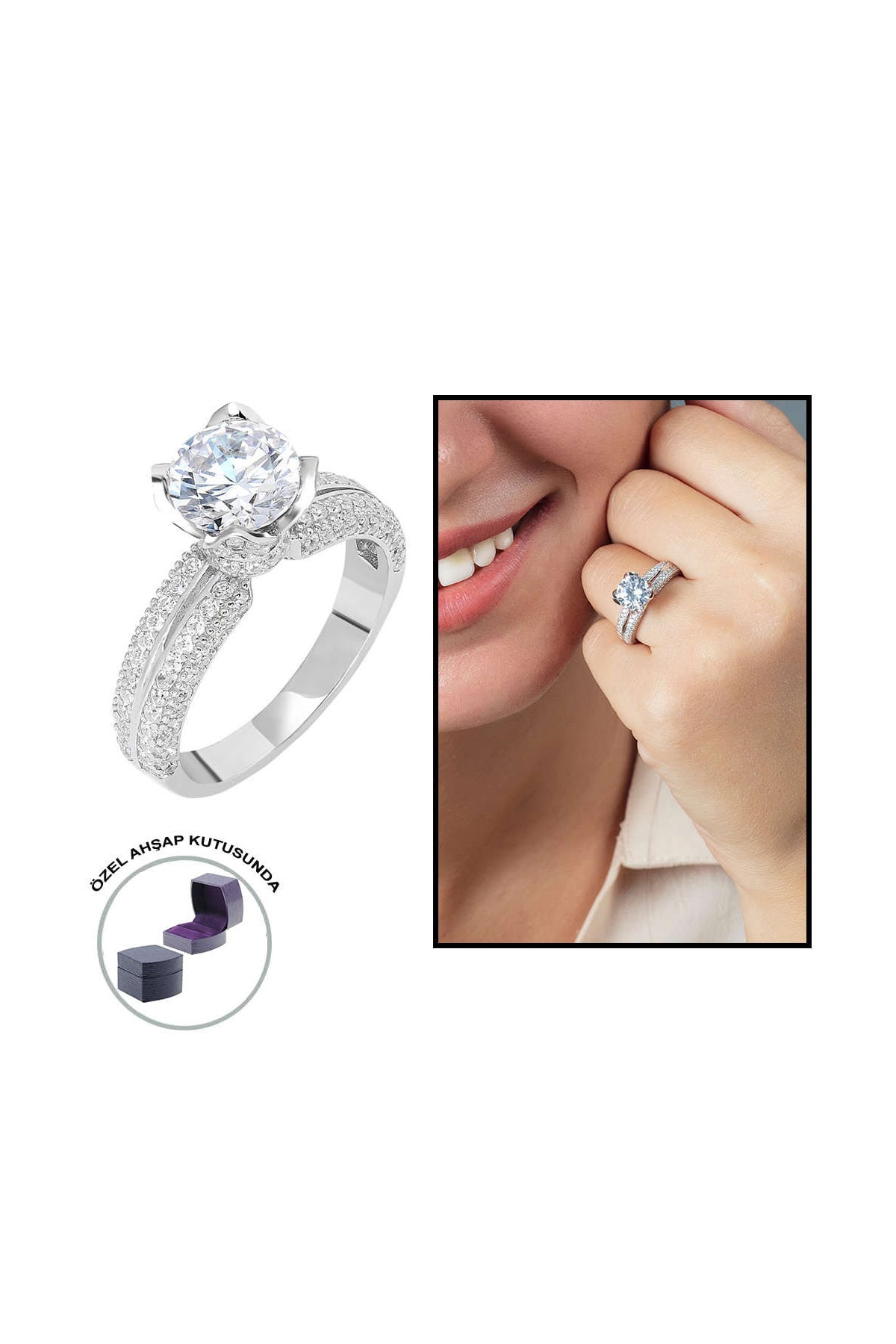 Tesbihane Starlight Diamond Pırlanta Montür Sevgi Temalı 925 Ayar Gümüş Bayan Tektaş Yüzük 102001801