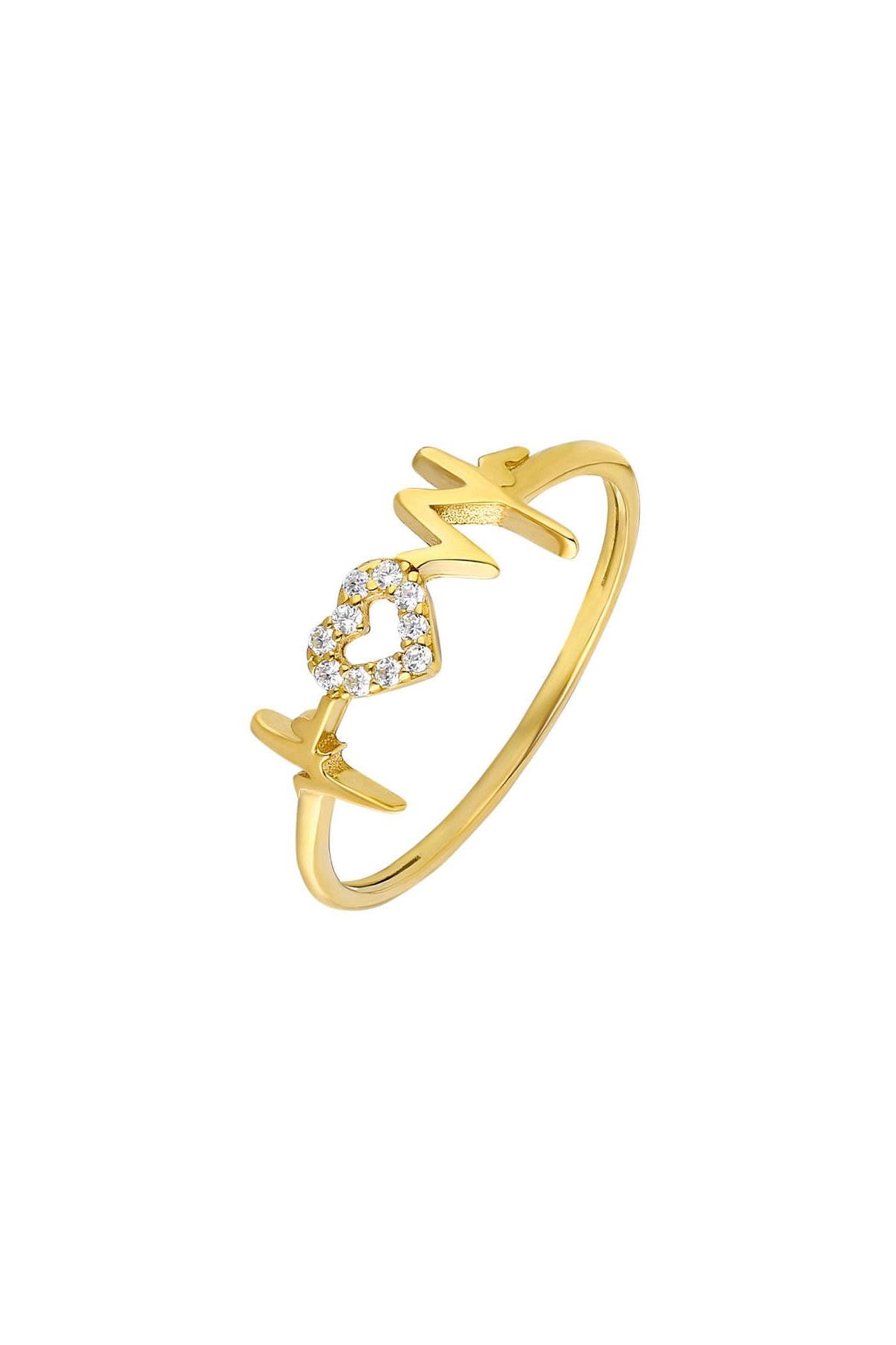 Tesbihane Zirkon Taşlı Kalp-Ritim Tasarım Gold Renk 925 Ayar Gümüş Bayan Yüzük 102001677 2