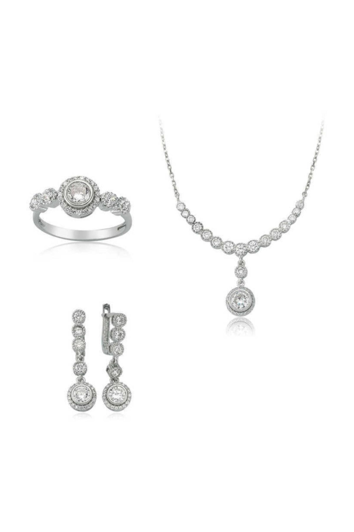 Gumush Gümüş Beyaz Taşlı Su Yolu Kadın Set 1