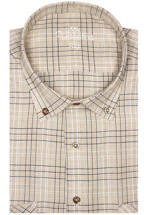 Varetta Erkek Açık Kahverengi Kısa Kollu Büyük Beden Keten Efektli Yaka Düğmeli Çift Cepli Gömlek