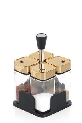ACAR Gold Alya 4'lü Metal Standlı Kare Cam Baharat Takımı