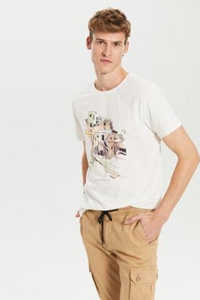 LC Waikiki Erkek Ekru T-shirt 0S3244Z8
