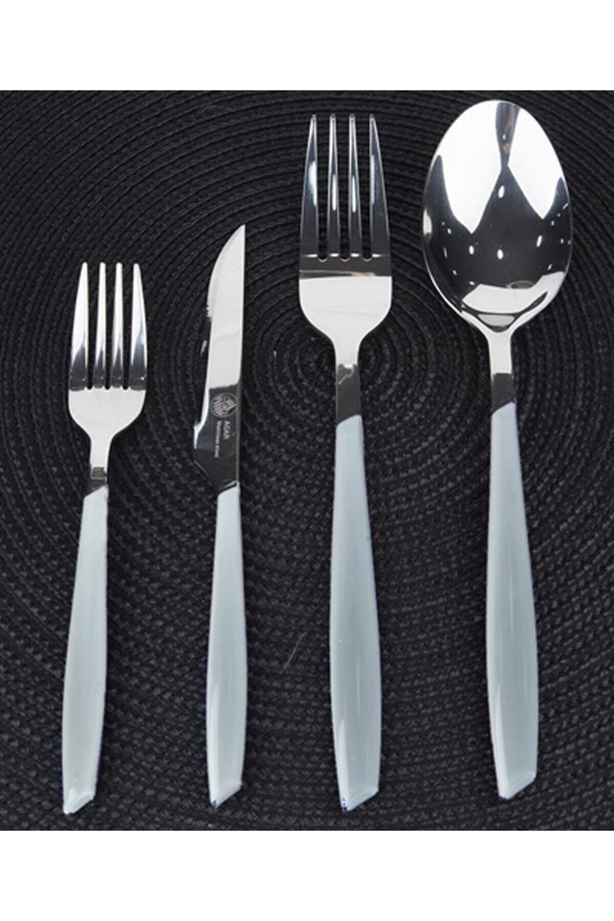 ACAR Beyaz 24 Parça Çatal Kaşık Bıçak Seti 1