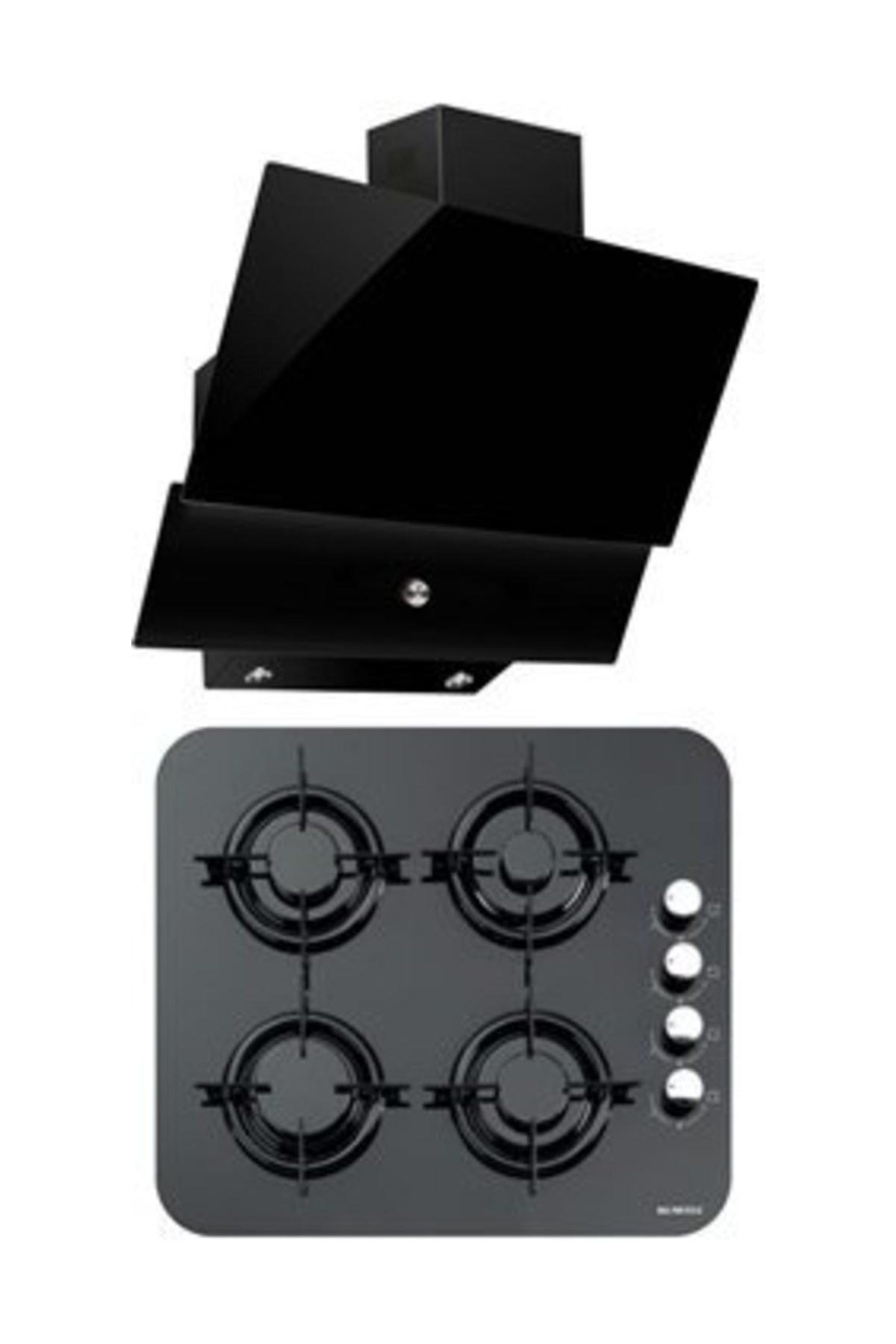 KUMTEL Siyah İkili Oval Cam Ankastre Set (DA6 830 Davlumbaz + 40 TSHDF Oval Cam Ocak) 1
