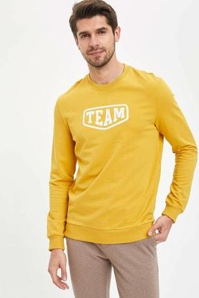 DeFacto Erkek Sarı Yazı Baskılı Sweatshirt N2478AZ.20SP.YL64