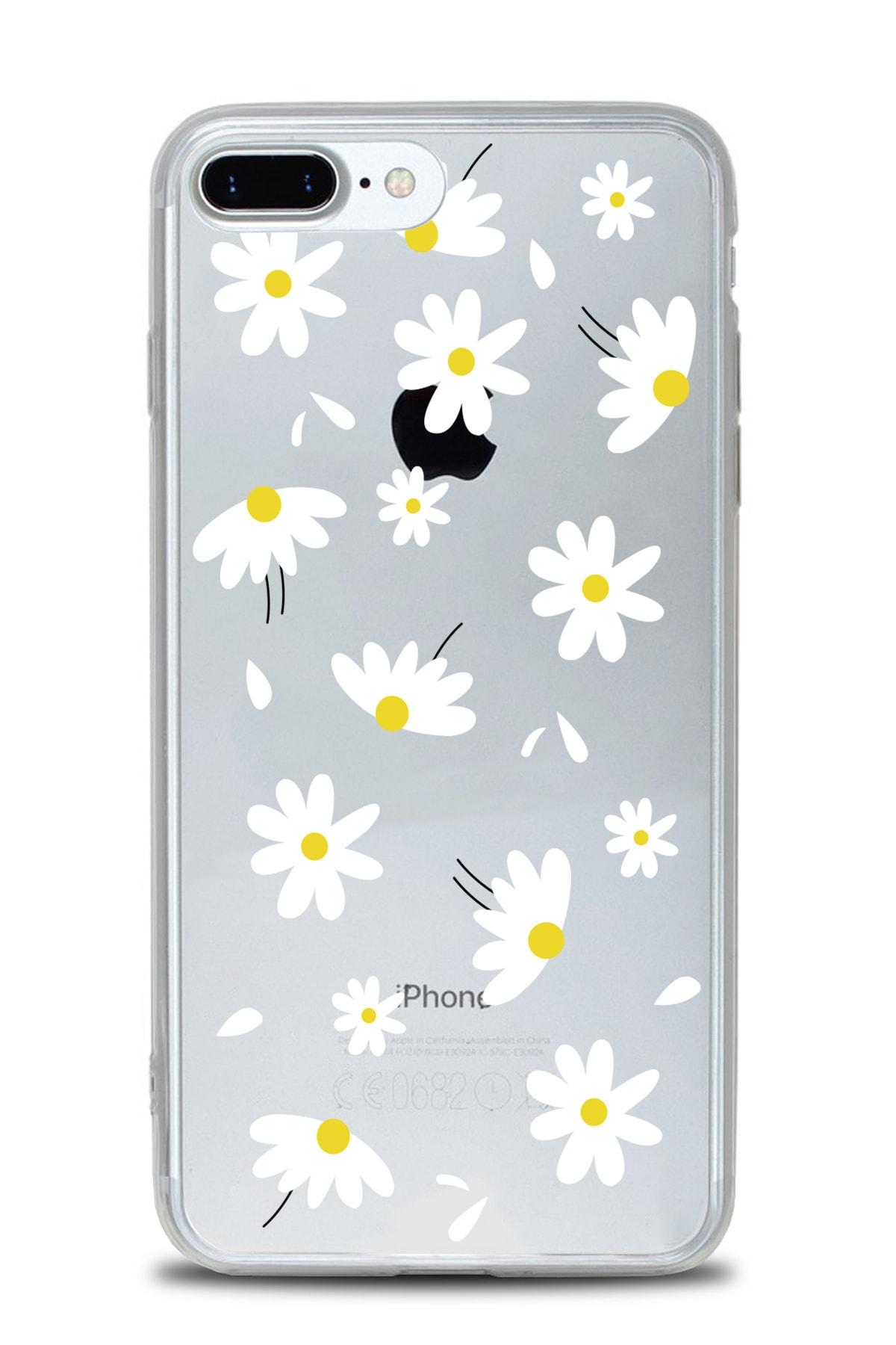 AksesuarLab Iphone 8 Plus Kılıf Desenli - Şeffaf Silikon Kılıf (ÇİÇEK TASARIM) 1