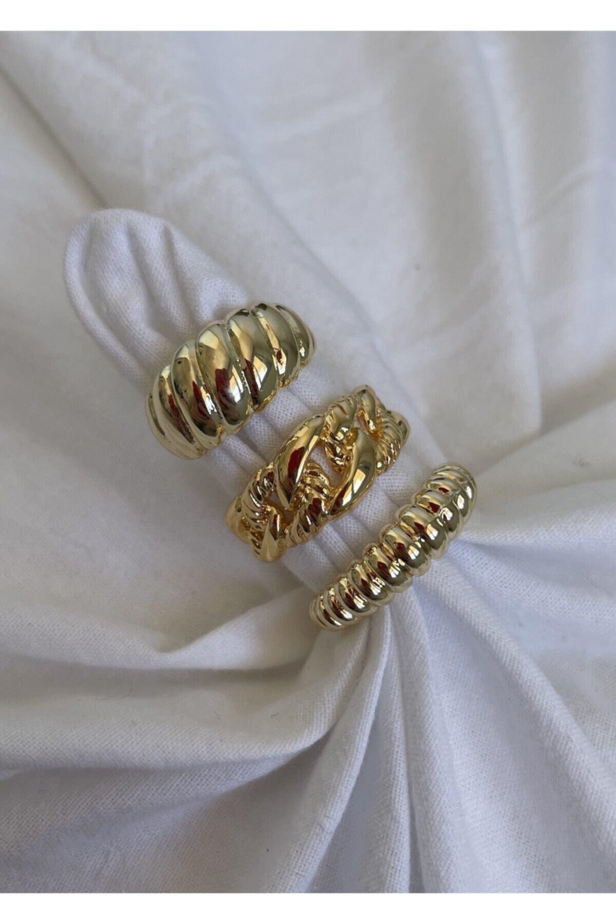 KİLİG Gold 3'lü Ayarlanabilir Vintage Yüzük Seti 1