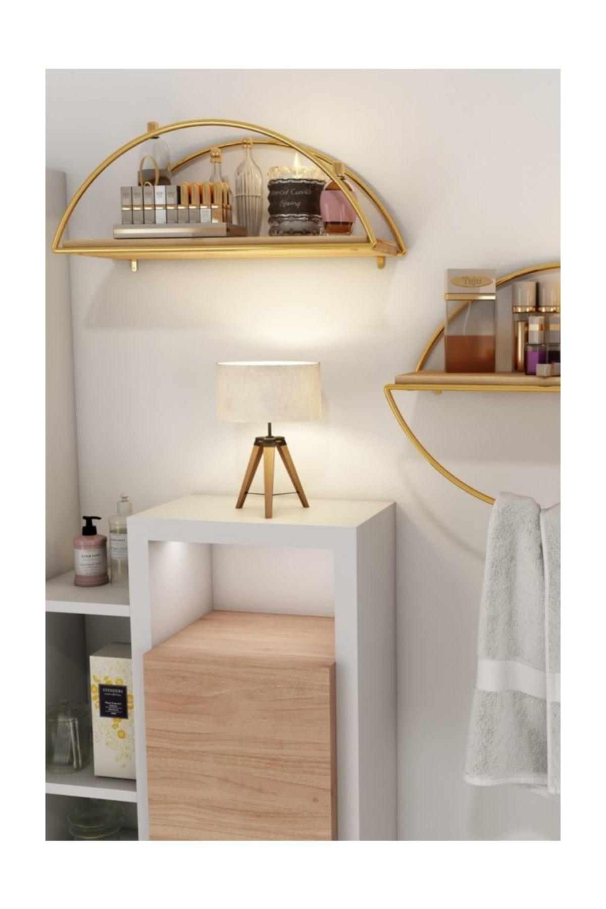 Bino Duvar Rafı Dekoratif Mutfak Banyo Altın Elips Kitaplık 2li Set 2
