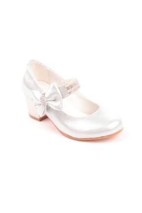 Akıllı Şirin Kız Çocuk Beyaz Taş Işlemeli Topuklu Ayakkabı