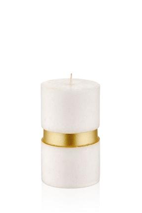 The Mia Beyaz Mum Bantlı -Ekru-Gold 7 X 12 Cm