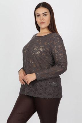 Şans Kadın Füme Dantel Detaylı Bluz 65N14813