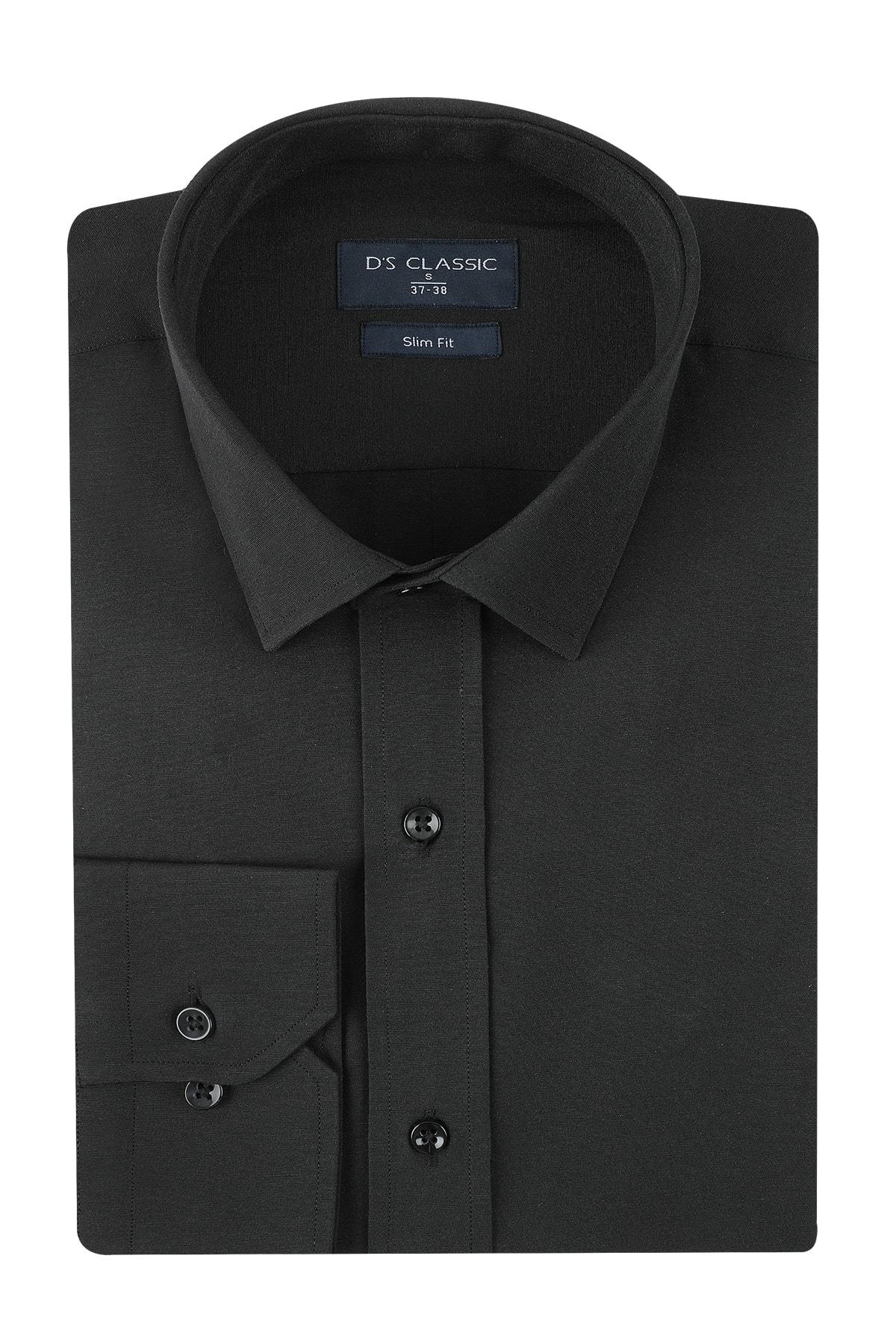 D'S Damat Slim Fit Erkek Siyah Gömlek 1