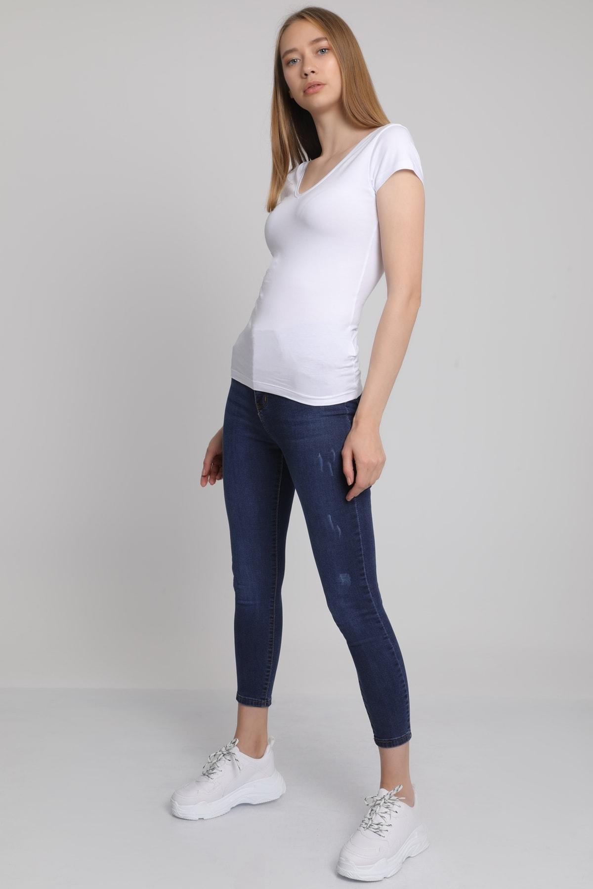 MD trend Kadın Beyaz Ön Arka V Yaka T-Shirt Mdt3472 2