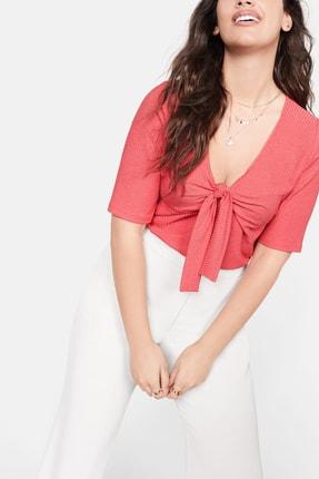 Violeta by MANGO Kadın Mercan Kırmızısı Düğümlü Fitilli Tişört  57012877