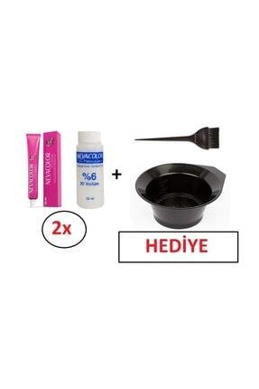 Neva Color Tüp Boya 4. 2 'li+nevacolor %6 Volume Oksidan 2'li+ Boyama Kabı Ve  Fırça Hediye