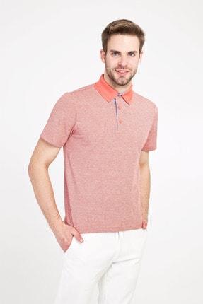 Kiğılı Erkek Mercan Kırmızı Polo Yaka Regular Fit Desenli Tişört