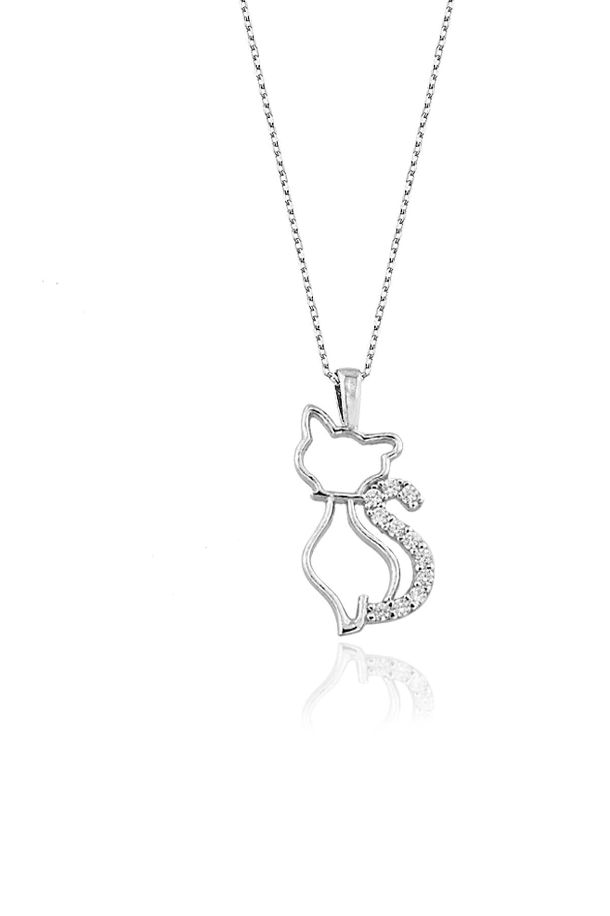 Else Silver Kedi Gümüş Kolye 1