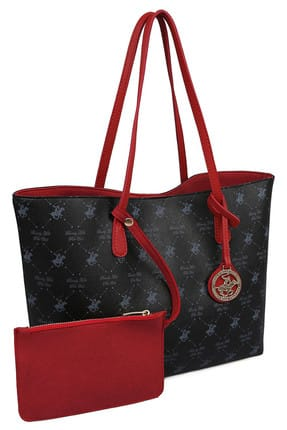 Beverly Hills Polo Club Kadın Desenli Tote Çanta Siyah, Kırmızı