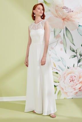 Journey Kadın Beyaz Elbise Sıfır Yaka Üst Beden Dantel Kombinli Düşük Kol Uzun Abiye Elbise 19YELB153