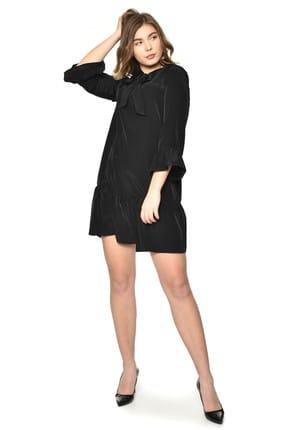 Pitti Kadın Siyah Elbise Boyundan Bağcıklı 51060
