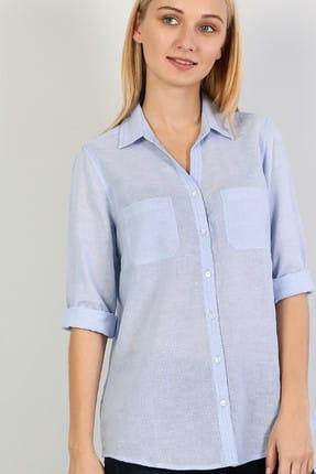 Colin's KADIN Regular Fit Shirt Neck Kadın Mavi Uzun Kol Gömlek CL1042550
