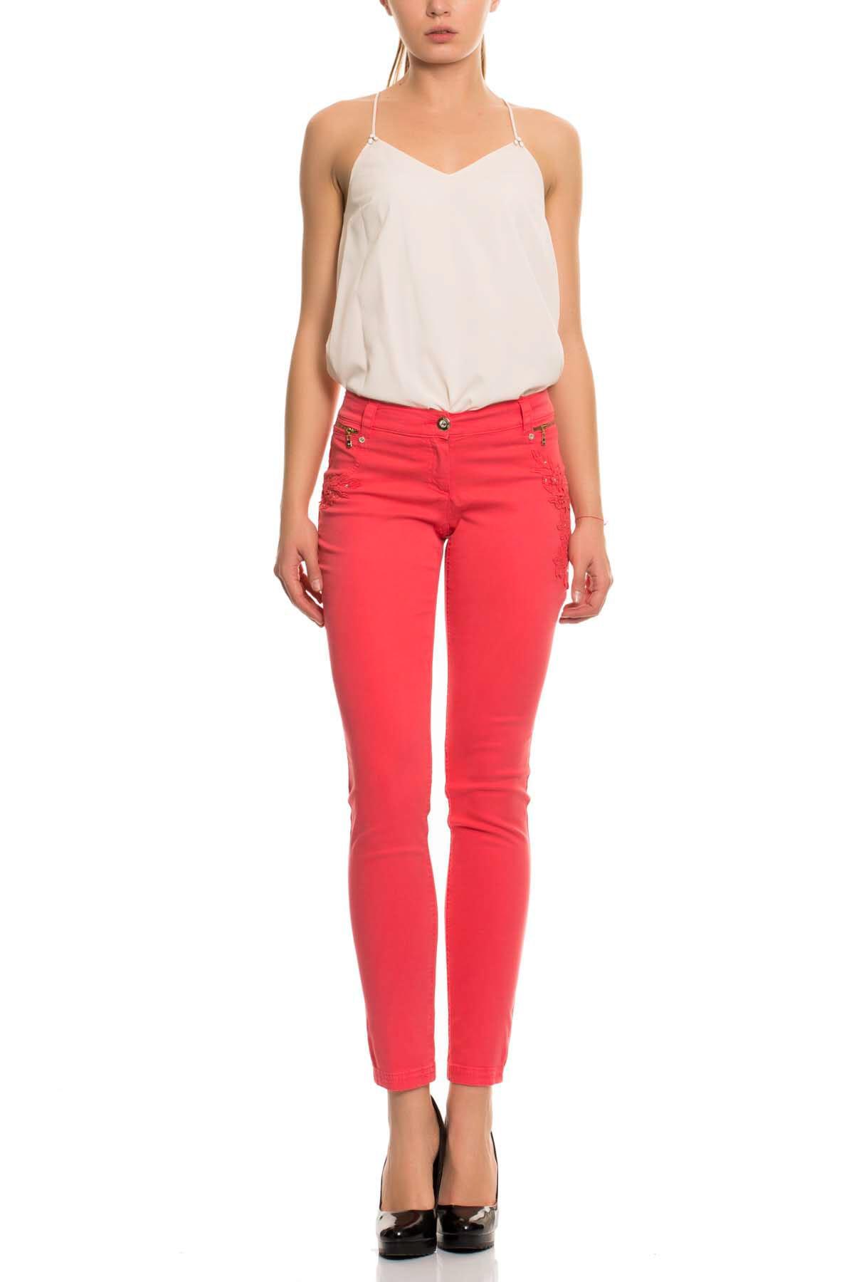 GIZIA CASUAL Kadın Mercan Rengi Skinny Kot Pantolon M15YAS0211C7K 1