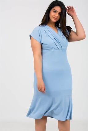 By Saygı Kadın Kruvaze Eteği Volanlı Simli Astarlı Likra Abiye Elbise Bebe Mavi S-19Y3050016