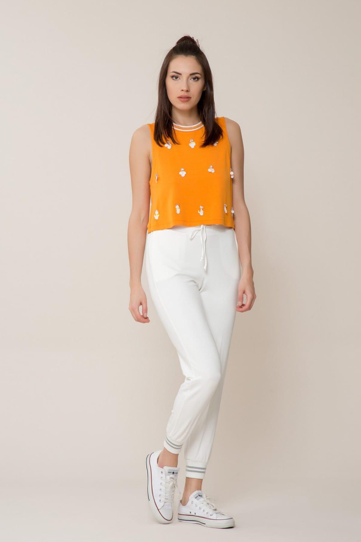GİZİA Kadın Pul Detaylı Turuncu Spor Bluz M18Y2W01012W6 1