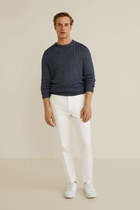 MANGO Man Erkek Beyaz Standart Kesim Koton-Keten Pantolon 43097740