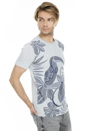 Lufian Erkek Hipo Modern Grafik T- Shirt Açik Gri 111020012100180