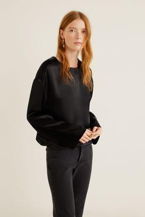 MANGO Woman Kadın Siyah Düğmeli Saten Bluz 41021025