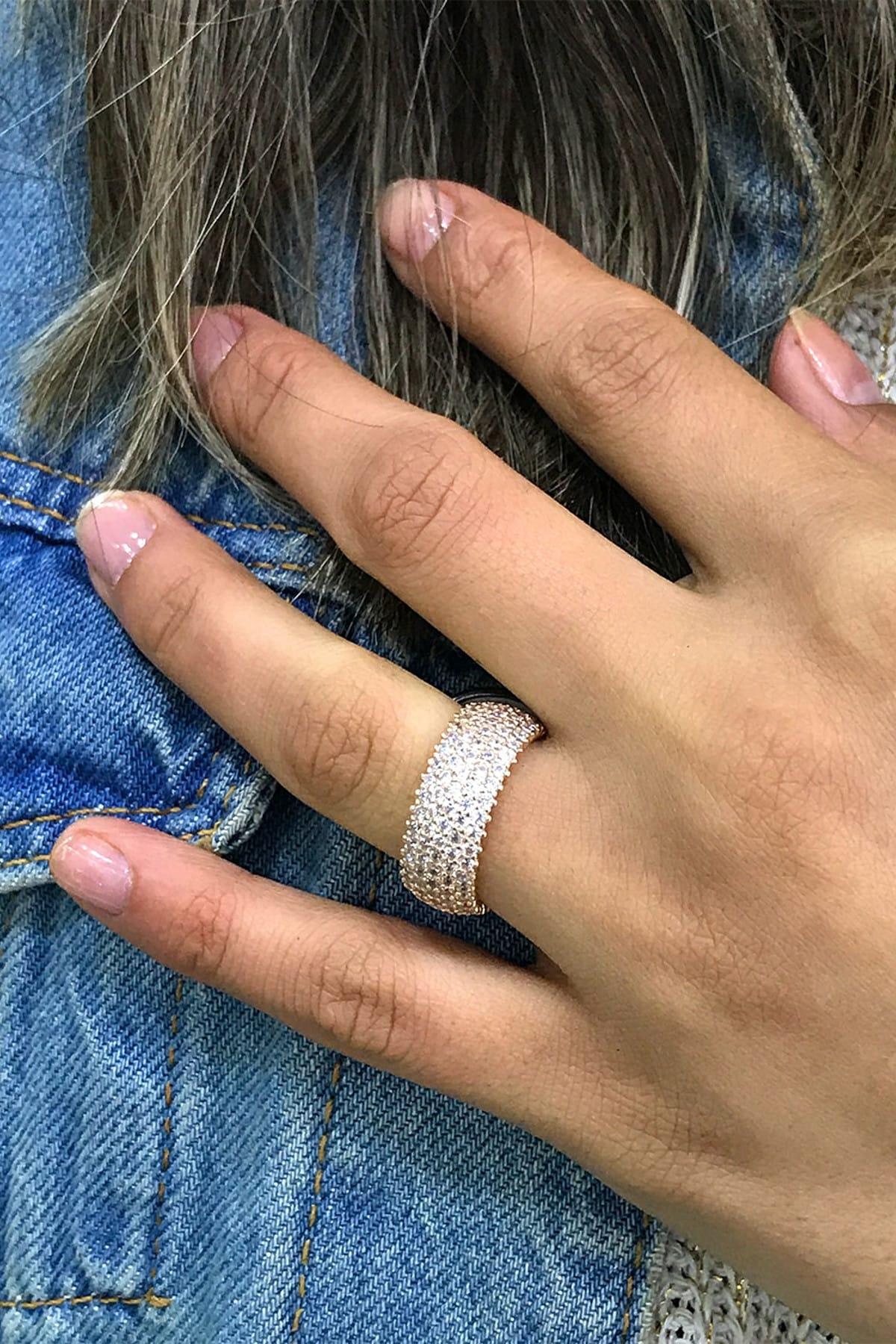 Midyat Gümüş Dünyası Kadın Rose Kaplama Beş Sıra Tamtur Taşlı Yüzük Gümüş Alyans 2020023 2