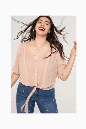 Violeta by MANGO Kadın Ten Rengi Plumeti İşlemeli Bluz 53050806