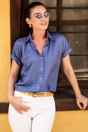armonika Kadın İndigo Kısa Kol Gömlek ARM-19Y001088