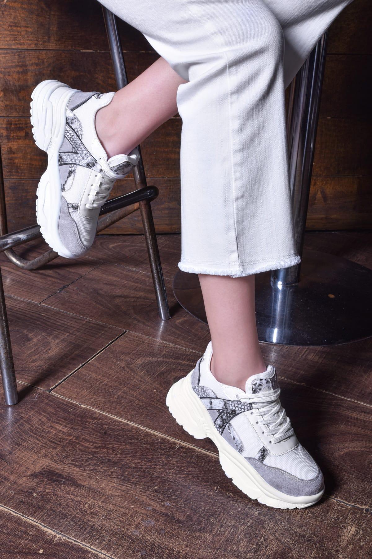 Jeep Beyaz Yılan Kadın Spor Ayakkabı 9Y2SAJ0006 1