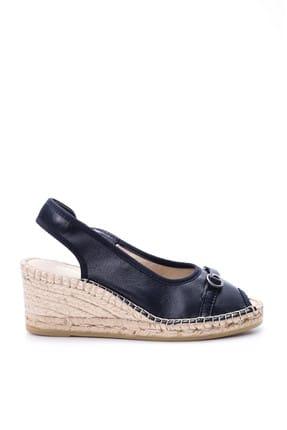 Derimod Hakiki Deri Lacivert Kadın Sandalet
