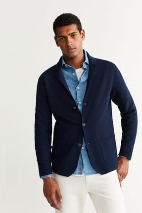 MANGO Man Erkek Lacivert Kalıplı Örme Kumaşlı Blazer Ceket 53023699