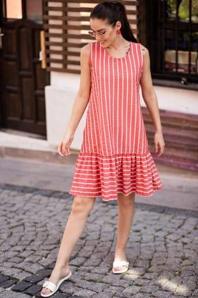 armonika Kadın Kırmızı Kolsuz Eteği Fırfırlı Çizgili Elbise ARM-19Y001101