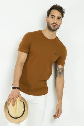 Sateen Men Erkek Kahve Bisiklet Yaka Basic T-Shirt 145-7240