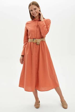 DeFacto Modest Düğmeli Relax Fit Elbise