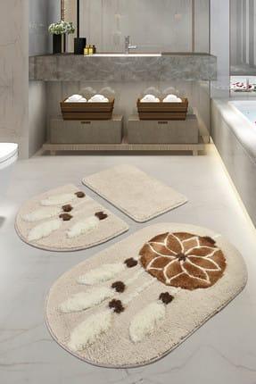 Chilai Home Rüya Kahve 3lü Set Banyo Halısı Yıkanabilir, Kaymaz Taban