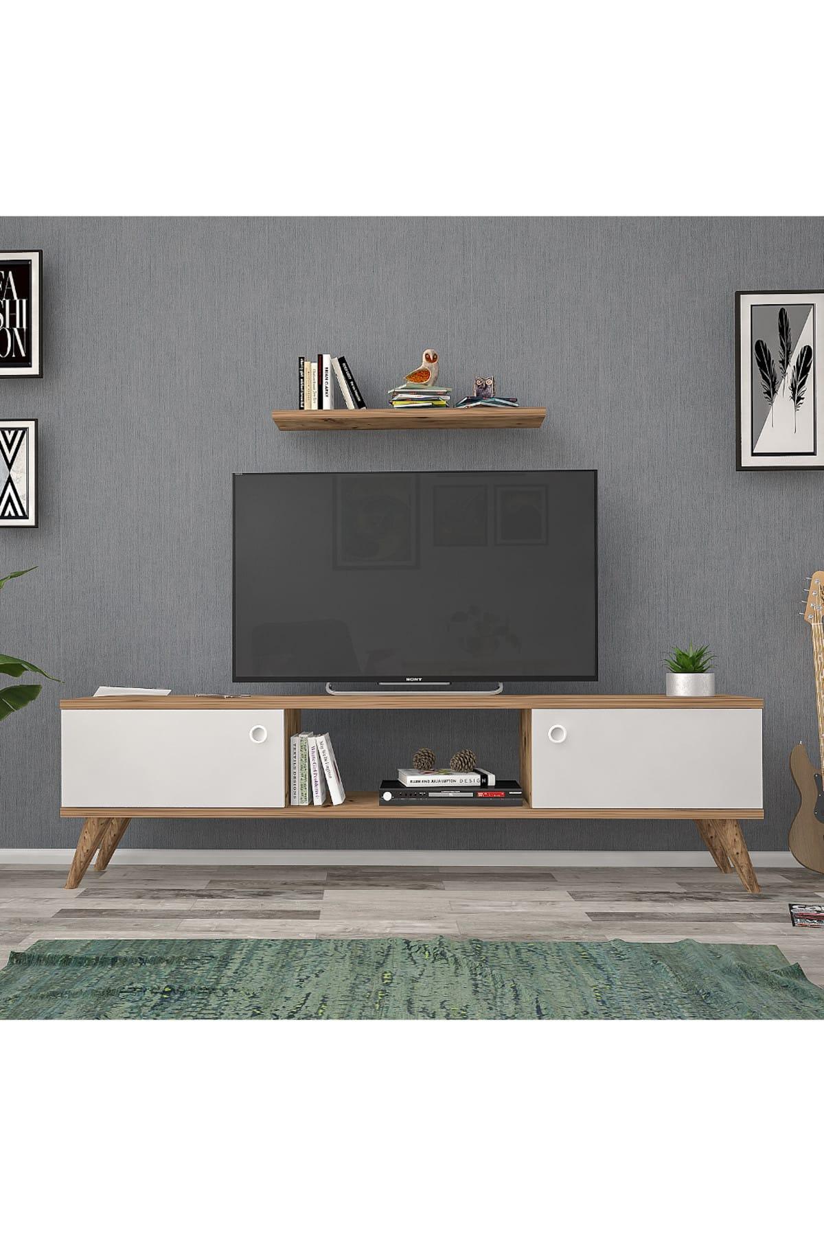 Mbes Mobilya 140 Cm Eda Atlantik -beyaz Tv Ünitesi 1