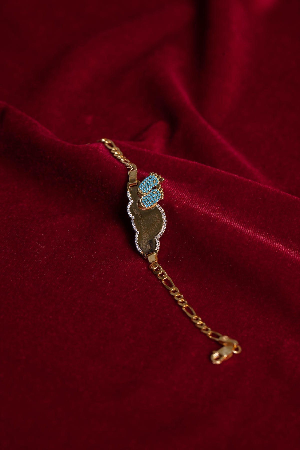 Ninova Silver Altın Kaplama Mavi Ayaklı Gümüş Çocuk Bilekliği