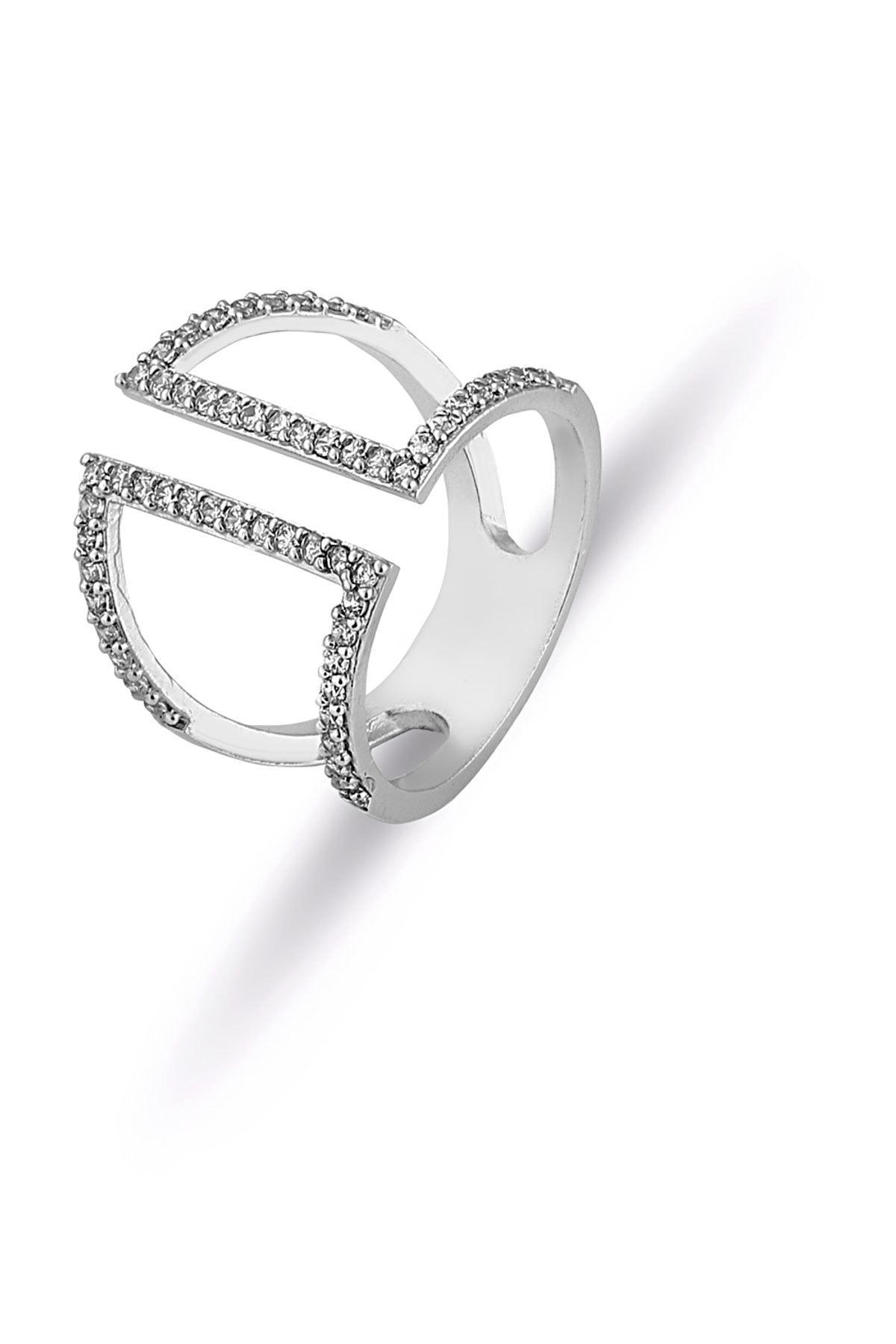 Forentina Kadın  Gümüş Kaplama Ayarlanabilir Tasarım Yüzük PS0846 1